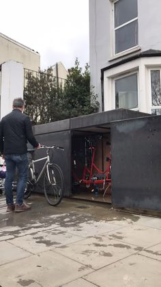 Hackney, London - Bespoke, beautiful and secure bike shed storage providing easy access for the bikes in you life - ideal for the Victorian terrace front garden. Garden Bike Storage, Bicycle Storage Garage, Garage Velo, Outdoor Bike Storage, Shed Storage, Secure Storage, Storage Ideas, Bicycle Painting, Architecture Art Design