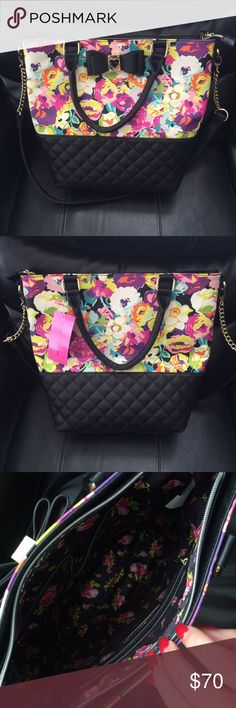"Betsey johnson be my honey bag FAUX LEATHER FLORAL DESIGN QUILTED BLACK DIAMONDS GOLD-TONE HARDWARE BETSEY'S SIGNATURE HEART NAMEPLATE & BOW TOP ZIP CLOSURE W/ HEART CHARM PULL DUAL ROLLED HANDLES W/ 7"" DROP DETACHABLE STRAP BLACK/GOLD CHAIN COMBO  LINED IN BETSEY'S NEWEST FLORAL PRINT INTERIOR INCLUDES ZIP POCKET & 2 SLIP POCKETS MEASUREMENTS: 13""H x 4.5""D x 14""L Betsey Johnson Bags Shoulder Bags"
