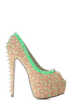 """OMG! LOOK AT THESE AMAZING NEW ARRIVAL""""Spiked Neon Cork Heels"""" Spikes and cork accessories are all the rage right now and we`re all about these organic looking heels. These peep-toe, hidden platform shoes feature a faux cork that is speckled with little neon pops of color. GET YOURS AT www.cicihot.com #weheartit #cork #spikes #organic #pump #peeptoe #cute #fashionable #fashinoista #neon #hot #cici #cicihot #lookfab #summer #green #welovefashion #worldoffashion #design"""
