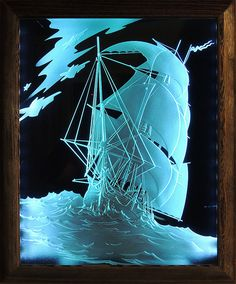 Ship. Glass picture with lights. Deep multilevel sandblasting glass. * by cartonus.com My Glass, Glass Art, Glass Etching, Etched Glass, Jellyfish Art, Sandblasted Glass, Glass Engraving, Window Graphics, Altered Art