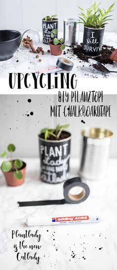 Plantlover Upcycling - box with chalkboard tape as plant pot - DIY Deko - Diy Garden Projects, Garden Crafts, Upcycled Crafts, Diy And Crafts, Diy Recycling, Diy Cans, Small Potted Plants, Diy Inspiration, Recycled Garden