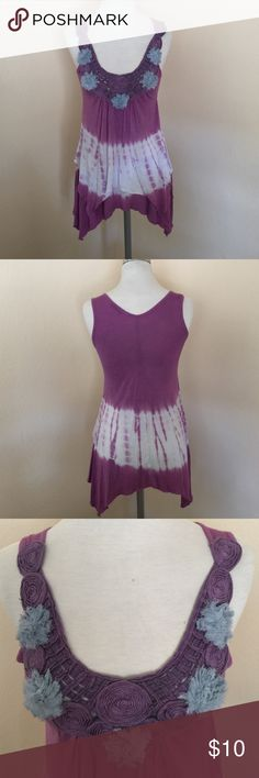 """Cotton On Asymmetrical Tie Die Top, size small Cotton On shark bite purple tie dye tank top embellished with people and blue flowers, in size small. Front is 2 layers. Measures 24"""" center and back and 29"""" on the sides. Made from 100% rayon. Please ask if you have any questions. Cotton On Tops Tank Tops"""