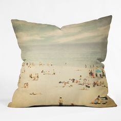 "Get this vintage beach 18"" x 18"" pillow for just $20!"