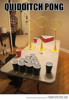 If regular beer pong is just not challenge enough anymore...