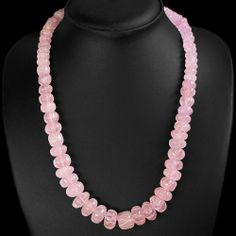 Natural Pink Rose Quartz Carved Beads Necklace