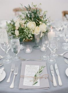 elegant green white and gray wedding table settings