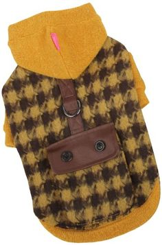 Pinkaholic New York Paramount Hooded Dog Sweater, Medium, Mustard Adorable Checkered Pattern Winter Hooded Sweater. Decorated with Back Pocket and a D-Ring Attachment. Ribbed neck, sleeves and bottom. Available in Mustard and Black in Sizes Ranging from Small to Extra Extra-Large. Size: Medium - 11 Neck, 15 Chest, 9.8 Length.  #Pinkaholic_New_York #Pet_Products