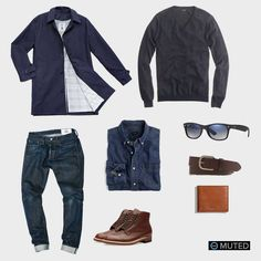 ** MENS OUTFIT IDEAS #55 ** American Trench outfit #2 is perfectly casual outfit for fall or winter. Of course it features the navy American Trench with the classic J. Crew Merin...