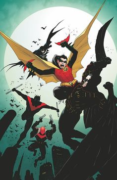 The 4 Robins together - Robin, Red Robin, Red Hood, and Nightwing....this is pretty awesome