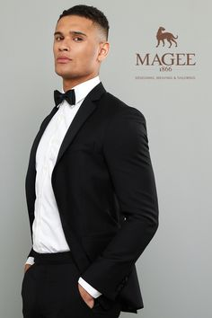 This contemporary two-piece dinner suit has a tailored fit and a black shawl collar for a sleek 007 look. Pair with a classic double cuff shirt and bow tie to complete. Perfect for any formal occasion. Dinner Suit, Fitted Suit, Weekend Wear, Wedding Suits, Mens Suits, Groomsmen, Shawl, Suit Jacket, Bow