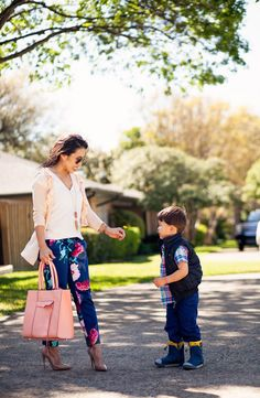 cute & little blog | petite fashion | apricot ruffle cardigan, white silk tee, banana republic gerber daisy navy floral avery pants, louboutin so kate nude pumps, coral minkoff mab tote | spring outfit
