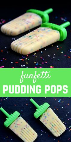 Easy to make, festive, and fun, these funfetti pudding pops will be a fun treat for the whole family. Kids especially love these! Get the popsicle recipe on RachelCooks.com!:
