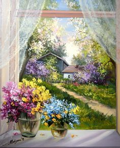 Home beauty diy dmc handwork sets diamond painting flowers cross stitch diamond embroidery mosaic paints home decor Beautiful Paintings, Beautiful Landscapes, Landscape Art, Landscape Paintings, Cottage Art, Garden Painting, Painting Flowers, Window View, Painting Inspiration