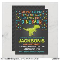 Dinosaur Birthday Invitation Dinosaur Dig Party Dinosaur Dig, Dinosaur Party, Zazzle Invitations, Party Invitations, Reptile Party, Dinosaur Birthday Invitations, Colored Envelopes, 4th Birthday, Invitation Design