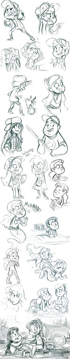 Some Gravity Falls. Geez, I need to quit drawing Mermando, but he the best. I also tried drawing Soos, Wendy. I think they turned out pretty good. I also tried drawing Stan, but he wasn't as lucky....