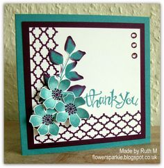 Flower Sparkle: Summer Silhouettes Flowers  Leaves Thank You Card