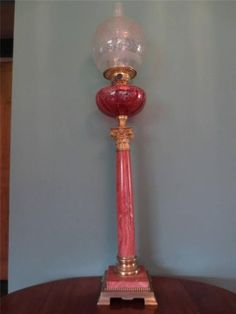AN-ANTIQUE-VICTORIAN-C1870-CRANBERRY-MARBLE-OIL-LAMP-GLASS-FONT-GLOBE-SHADE
