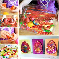 Use your Easter Eggs to create Sensory Process Art! You can use your paintings on card fronts! Easter Activities For Preschool, Montessori Activities, Fun Activities, Diy Sensory Board, Sensory Play, Owl Crafts, Kids Crafts, Craft Projects, Bubble Recipe