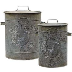 """Weight - 4.50 lbs. Height - 14.00 in. Width - 13.00 in. Length - 11.50 in. Metal Canisters sell as a set of two galvanized metal containers in two different sizes. Each canister includes a removable lid with handle and features a rooster design with embossed, french lettering. Smaller canister measures 12"""" high by 10"""" wide at the widest points. Larger size measures 15"""" high by 13"""" wide. French Country Rug, French Country Kitchens, French Country Bedrooms, Country Farmhouse Decor, French Country Decorating, Country Primitive, Farmhouse Style, French Farmhouse, Vintage Country"""