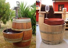 Na decoração do jardim, o barril pode ser usado como uma fonte juntamente com uma antiga bomba manual de poço artesiano e na adega pode virar uma poltrona.
