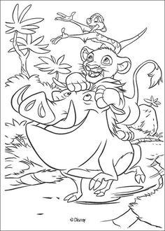 simba timon and pumbaa play coloring page