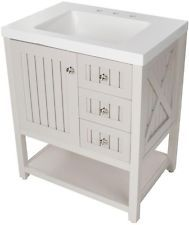 Website Picture Gallery Martha Stewart Living Seal Harbor vanity for the bathroom I LOVE this vanity with the beadboard and the X on the side I also love the green color that