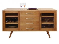 Addison 4 Drawer Buffet with Glass Doors. Mid-Century Modern Dining Room Furniture.