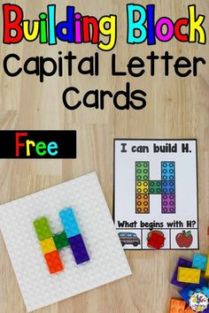 Using these Building Blocks Capital Letter Cards and constructing the letters of the alphabet using building blocks is a hands-on way for your kids to practice letter recognition and formation. It's also a great activity for developing their fine motor skills, finger muscle strength, hand and eye coordination, and much more. Click on the picture to get these free letter recognition cards! #letterrecognitionactivity #alphabetactivity #letteractivity #learningtheabcs #buildingblocsk Teaching The Alphabet, Teaching Kindergarten, Preschool Learning, Preschool Activities, Dementia Activities, Children Activities, Physical Activities, Pre Reading Activities, Alphabet Activities