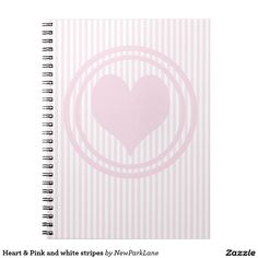 Heart & Pink and white stripes Notebook