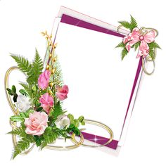 Pink Frame with Roses and Ribbon