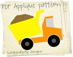 Dump Truck Applique Pattern - Construction Applique Template / Baby Nursery Quilt / Kids Dump Truck Shirt / DIY Boys Wall Hanging by ScrapendipityDesigns, $2.50