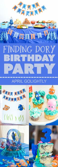 Finding Dory Birthday Party Ideas for a summer pool party with cake and cupcake ideas, party table, decor, and ideas on what stuff in the gift bags
