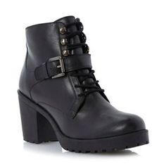 Dune Black lace up cleated sole heeled leather ankle boot- at Debenhams Mobile