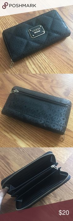 GUESS Ophelia Black Zip Around Wallet This GUESS Ophelia black zip around wallet is pre-loved in excellent condition!  Feel free to ask any questions or make an offer if interested! 💕 Guess Bags Wallets