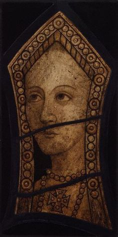Possibly Catherine of Aragon, queen of England by Wilfred Drake,drawing,1921. This appears to be a watercolor of a unknown stained glass window believed to depict Catherine of Aragon.