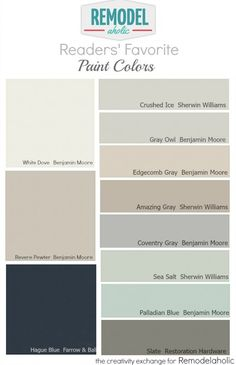 Readers' favorite paint colors: Tested and loved by many people, these colors work in a variety of lighting situations. Remodelaholic.com