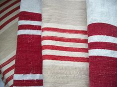 vintage red French ticking for chairs Plaid Laine, Ticking Fabric, French Fabric, Red Rooms, Linens And Lace, Fabulous Fabrics, Vintage Textiles, Ticks, Red Stripes