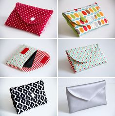 Sewing video tutorial and pattern for Bowie clutch / cell phone bag, variations