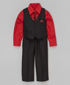 This Red Four-Piece Vest Set - Infant, Toddler & Boys by Shanil is perfect! #zulilyfinds