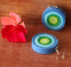 felt medium size earrings, large felt bead earrings Felt in various shades of blue and green fashionable shades of turquoise and lime, lemon green dangle earrings on a silver plated or sterling silver hook Blue Earrings, Etsy Earrings, Earrings Handmade, Dangle Earrings, Crochet Earrings, Handmade Jewellery, Blue Artwork, Pink Agate, Shades Of Turquoise