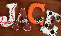 ORIGINAL Sports Fan Large Wooden Letters por MelanieLupien en Etsy