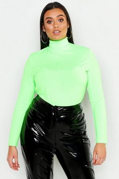 Stephanie Yeboah's Plus-Size Slime Green Picks Will Have You Ready To Rock The Trend Anytime Anywhere Black Dungaree Dress, Black Dungarees, Plus Size Brands, Plus Size Tops, Green Long Sleeve Shirt, Roll Neck Top, Ribbed Turtleneck, Fat Women, Triangle Bikini Top