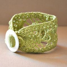 Lace Cuff with Vintage Buckle in Lime Green