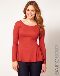 ASOS CURVE Exclusive Peplum Top in Soft Jersey with Sleeves... Cute!