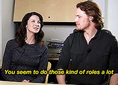 "(gif) - [Tell us about your most awkward acting moment.] Sam: ""My first play I did... basically they fall in love and, erm, have their first night together and it's quite intimate and it's like in the smallest theater in London. And so in the front row was my mum and some big casting directors. It's kind of off-putting and slightly embarrassing."" Cait: ""You seem to do those kind of roles a lot."" Sam: ""Yeahhh... I wonder why that is..."" Cait: ""Hmmm, interesting."""