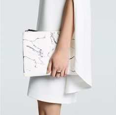 marble clutch, Country Road, Fashion, Style, White on white Minimal Chic, Minimal Fashion, Minimal Classic, Style Minimaliste, Silver Blonde, Jeanne Damas, Poppy Delevingne, Fashion Details, Fashion Design
