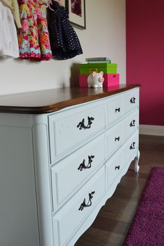 Light blue dresser with dark stained top