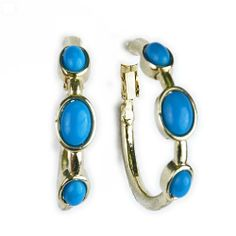 Turquoise and Gold Hoop Earring Clip On SusanB.. $39.00