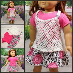 18 Doll Clothes 5 pc Pink White Lace Skirt and by MegOrisDolls, $29.50