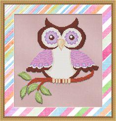 Counted Cross Stitch Pattern Purple Hoot Owl - Instant Download PdF - StitchX £2.38